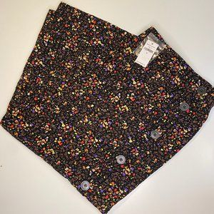 NWT GAP black floral skirt with side button detail